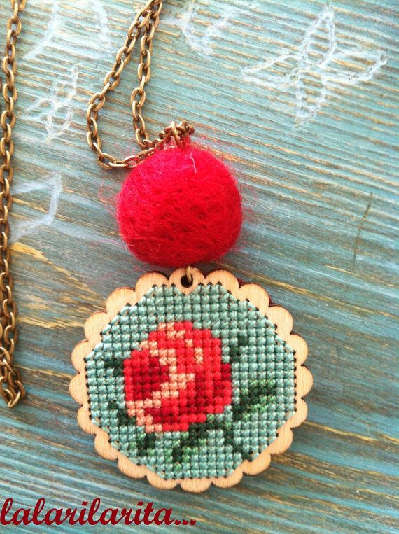 Cross Stitch Necklace Rose by lalarilarita on Etsy, $30.00