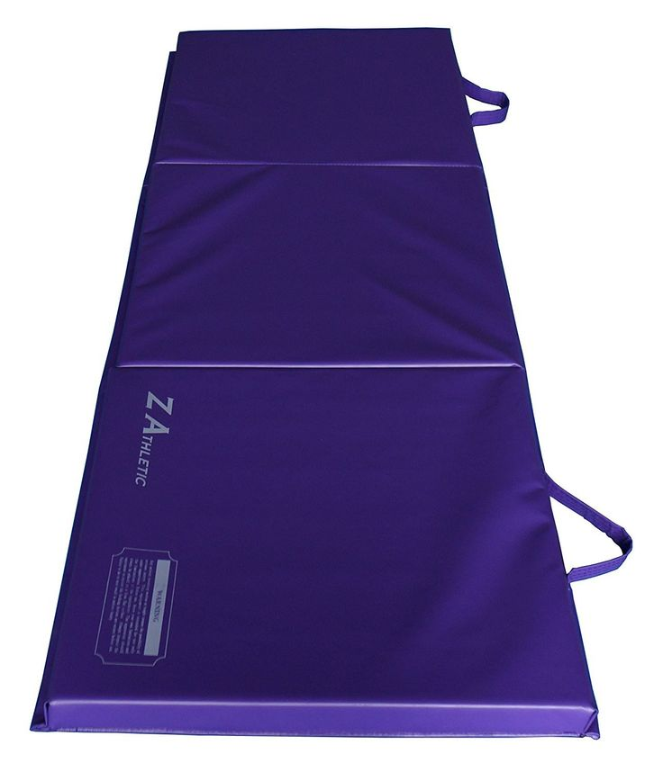 "Z Athletic Folding Panel Mats for Gymnastics, Martial Arts, Tumbling ( Multiple Sizes/Colors) (Purple, 2ft x 6ft x 2in). Z Athletic brand folding mats. Covered by high quality 18 oz. vinyl. Contains high density cross-linked polyethylene foam. Two handles for portability, no hook and loop connections. Dimensions: 2'x6'x2"" unfolded, 26""x25""x7"" folded."