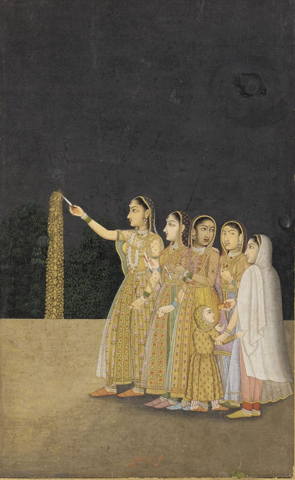 South Asian and Himalayan Art | Court Ladies Playing with Fireworks. ca. 1740  Muhammad Afzal active 1740-1780)  Mughal dynasty  Reign of Muhammad Shah  Color and gold on paper H: 18.9 W: 11.7 cm  Delhi, India   F1924.6