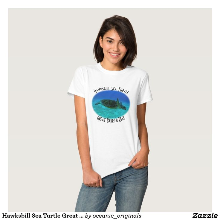 Cool T Shirt featuring a Hawksbill Sea Turtle swimming in the crystal blue waters of the Coral Sea on Australia's Great Barrier Reef.