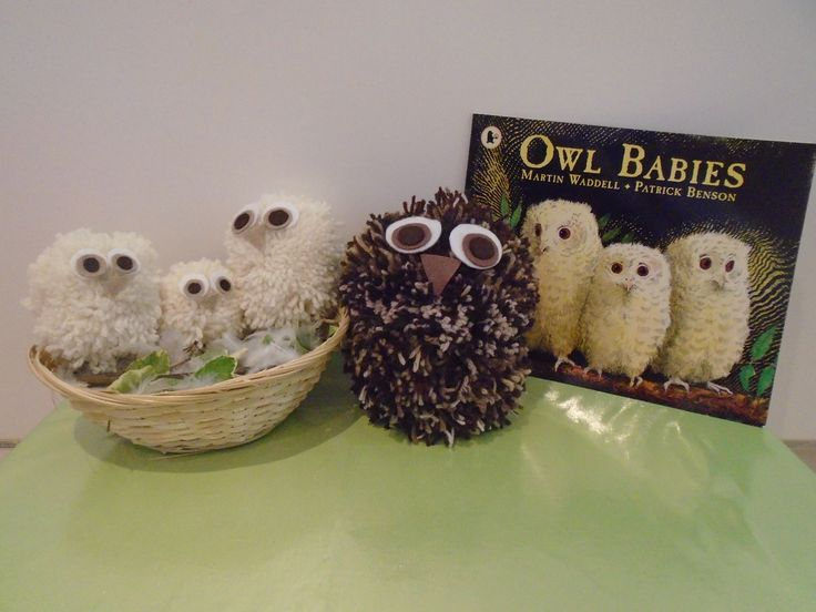 Owl Babies story sack DIY Make Yourself Homemade EYFS Owl's made from pom poms with felt eyes stuck on with fabric glue. Real feathers, twigs, and leaves to make the nest