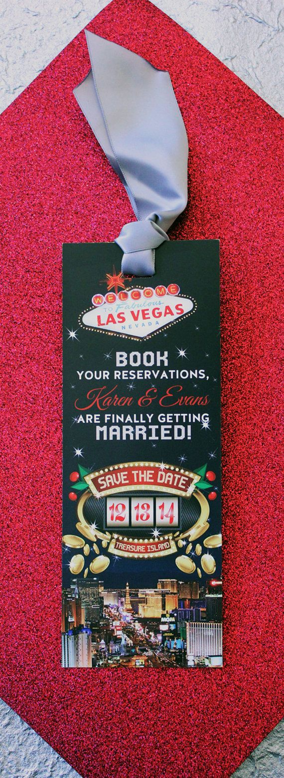 Las Vegas Bookmark Save the Date Custom Wedding by TheFunkyOlive