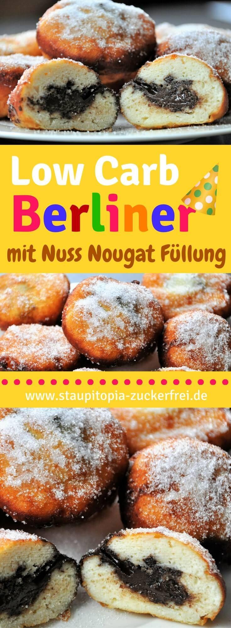 Für mich heißen sie Low Carb Berliner! Mal sind es aber auch Kreppel, berliner Pfannkuchen oder Krapfen. Wie auch immer! Dieses Rezept für Low Carb Berliner ist genial und perfekt geeignet, wenn du auch zu Karneval bzw. Fasching oder Silvester ohne Kohlenhydrate und ohne Zucker schlemmen möchtest. #berliner #lowcarb #krapfen #karneval #fasching #silvester #lowcarbbacken #lowcarbrezepte #staupitopia