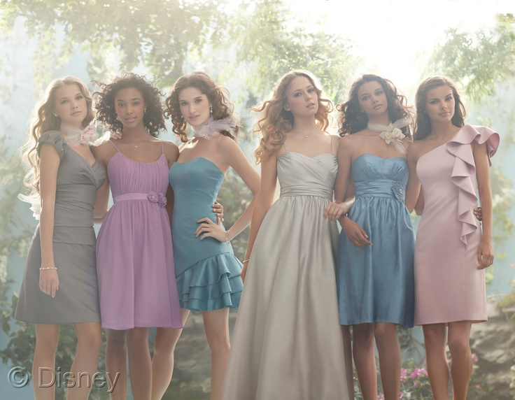 Disney Royal Maidens bridesmaid collection by Alfred Angelo. Love the soft colors