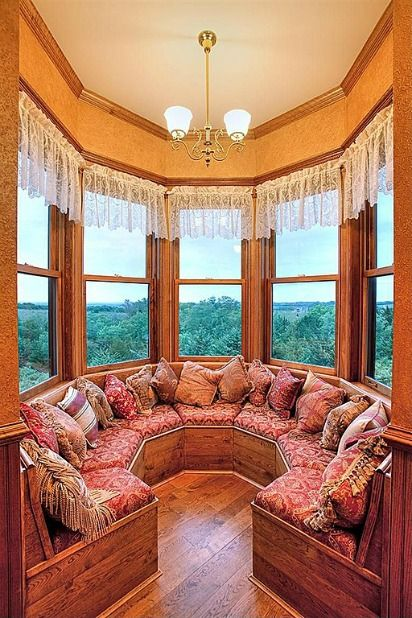 The built-in seating in the turret of a Queen Anne Victorian Designed in 1885, Built in 2002
