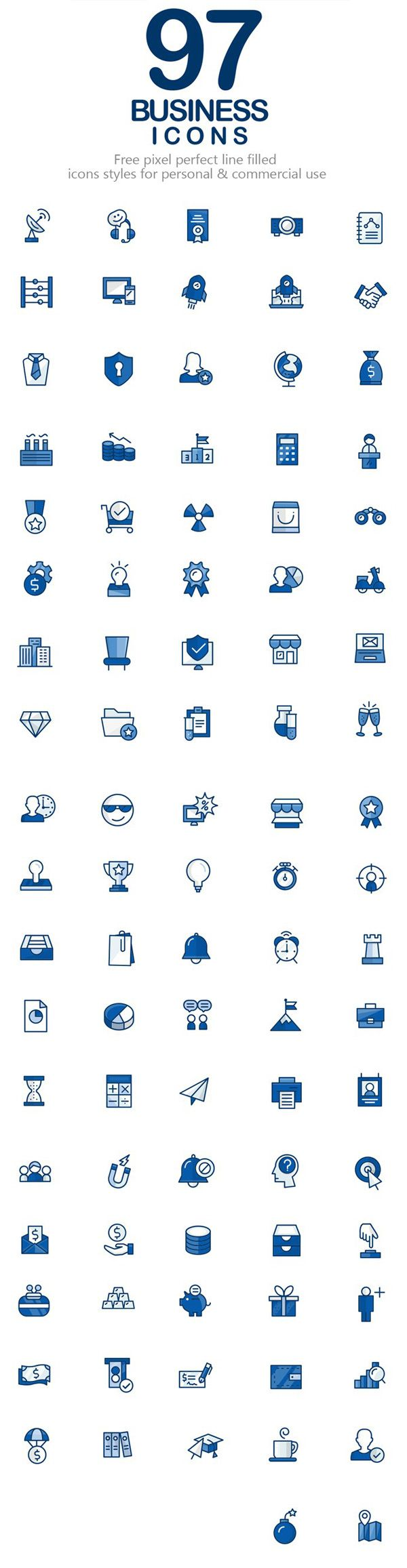 Free Business Vector Icons (97 Icons) #androidicons #freeicons #vectoricons #lineicons #psdicons