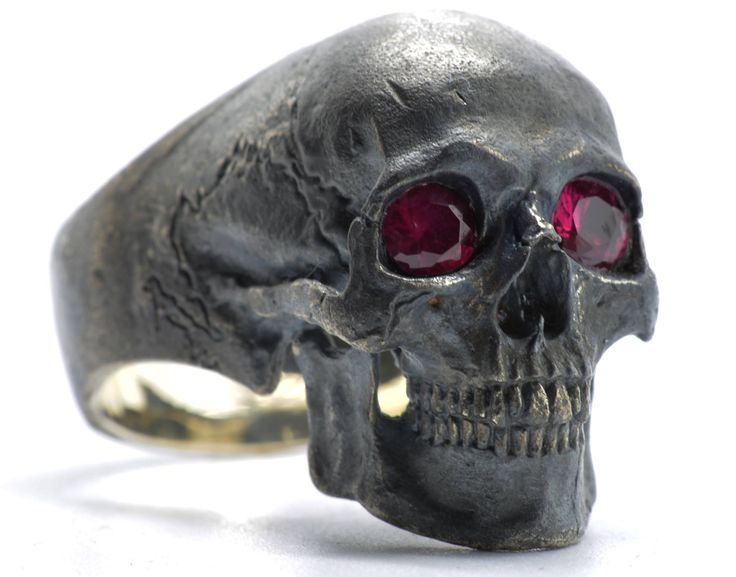 .925 Sterling Silver Full Jaw Skull Ring with Red Ruby eyes * clear rubies * handcrafted by Demitri Bakogiorgis  Contact him to purchase on Facebook https://www.facebook.com/IntoTheFireJewelry Men's Skull Rings #menskullring
