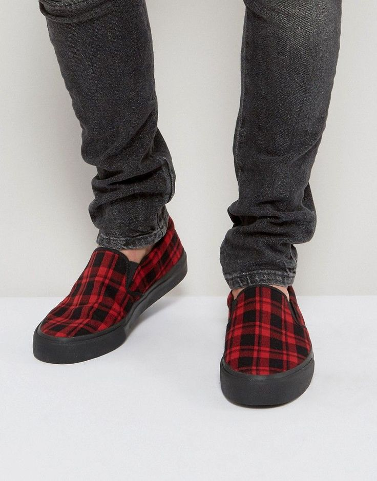 ASOS Slip On Sneakers In Plaid Check - Red