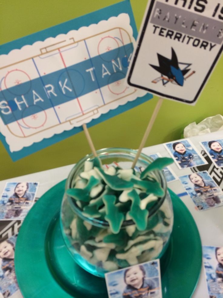 Raylen Jax's first birthday with a San Jose Sharks hockey theme - shark tank