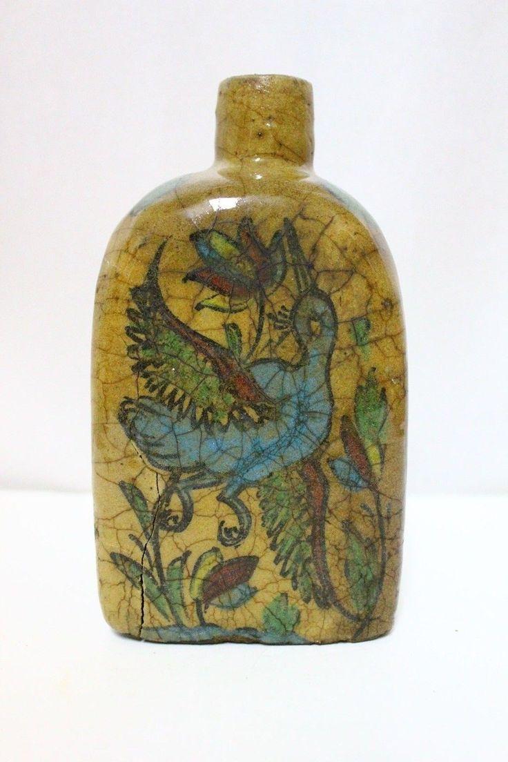 Antique Islamic Persian Qajar Painted Pottery Ceramic