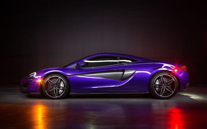 Lataa kuva 4k, McLaren MSO-570S Coupe, 2018 autoja, violetti 570S, superautot, McLaren