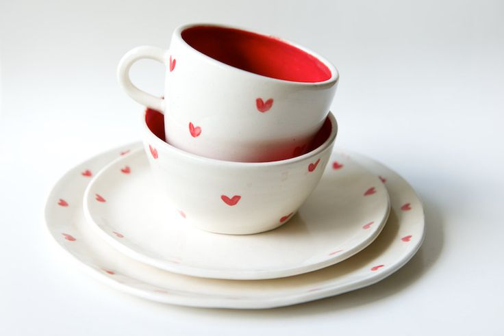 Dinnerware Set in White and Red Heart- 4 pieces- Handmade Ceramics by RossLab by RossLab on Etsy https://www.etsy.com/listing/205326999/dinnerware-set-in-white-and-red-heart-4