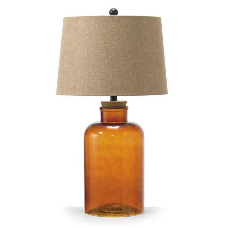 Vera Fillable Glass Table Lamp Amber – Black Mango