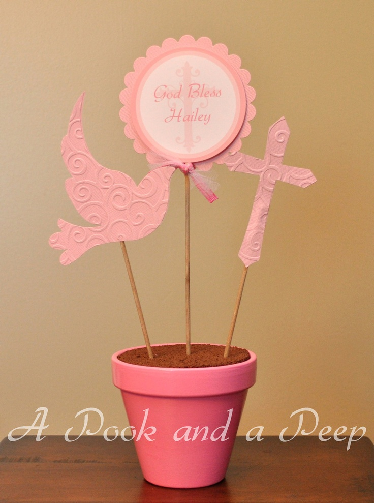 Pink Cross Dove Baptism Christening Personalized Customizable Centerpiece Decoration. $20.00, via Etsy.