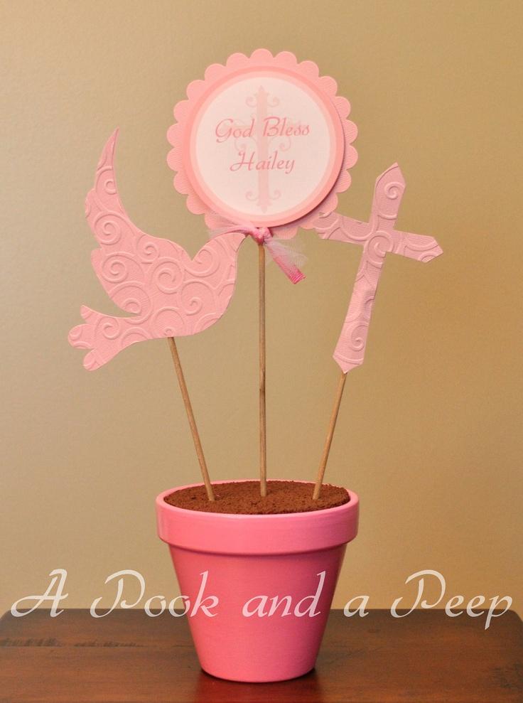 Pink Cross Dove Baptism Christening Personalized Customizable Centerpiece Decoration. $20.00, via Etsy.