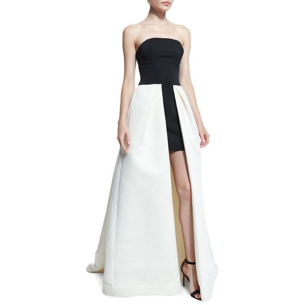 Halston Heritage Strapless High-Low Ball Gown ($725) ❤ liked on Polyvore featuring dresses, gowns, strapless dress, white evening gowns, white strapless dress, white gown and hi low dress