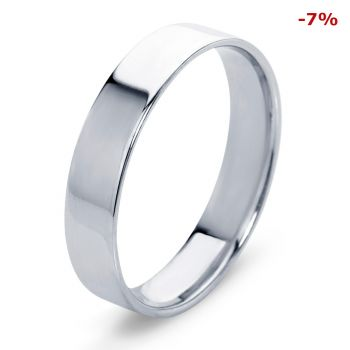Широкое обручальное кольцо гайка из платины 5 мм.