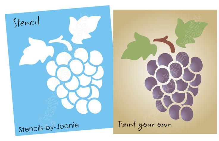 Grape Vine Stencil Grapes Wine Fruit Botanical Vineyard ...