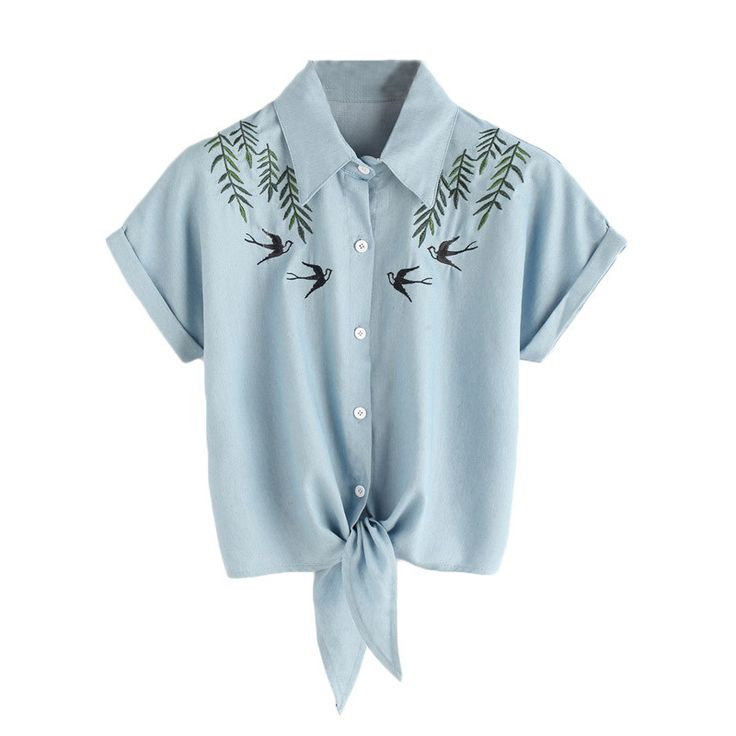 Women Blouses Blue Casual Tie Front Summer Tops Button Up Cute Lapel.