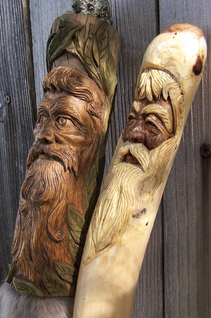 Spirit sticks walking old man in the wood