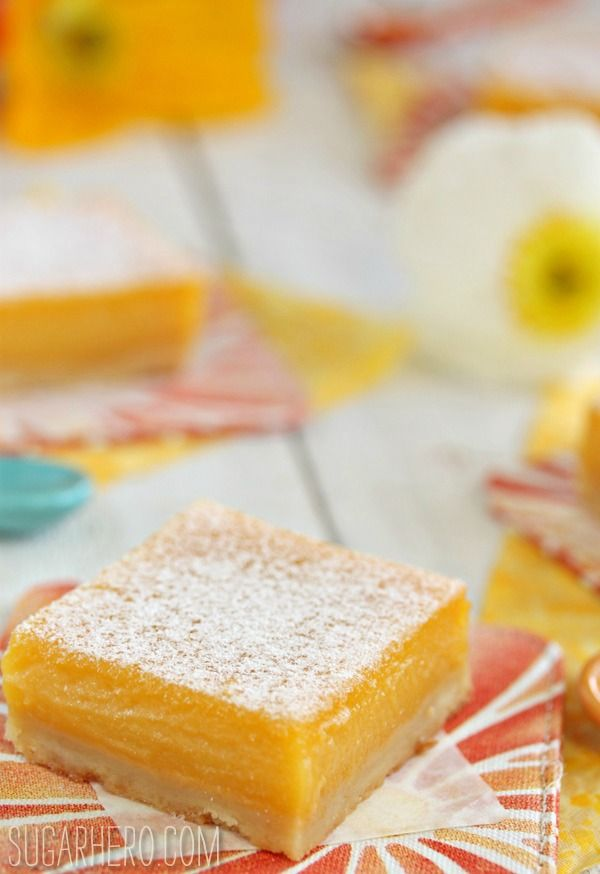 Passion Fruit Bars - like lemon bars, but with a tropical twist! | From SugarHero.com
