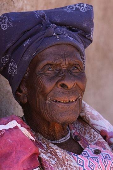 Herero woman. 105 years old.   Namibia.
