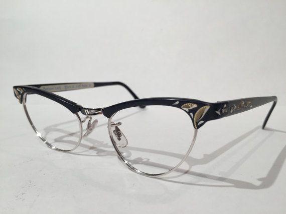 vintage 50s black browline cat eye etched aluminum eyeglass frames nos black gold silver aluminum cateye sunglasses frames new old stock