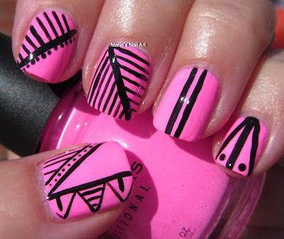 Black & pink: Nailart, Beautiful Nails, Hot Pink Nails, Native Art, Black Nails, Tribal Nails, Nails Ideas, Nails Art Design, Tribal Prints