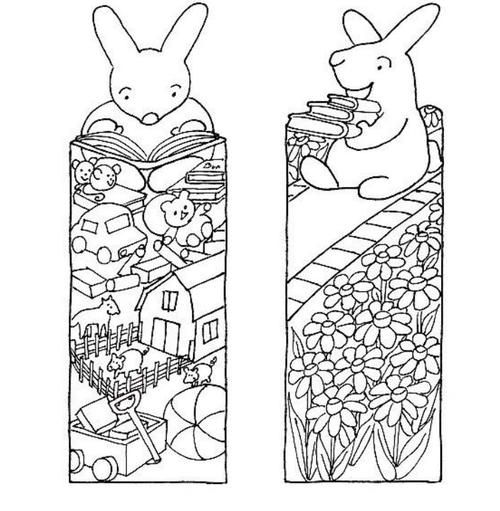 Little Bunny Printable Bookmarks to Color | Get these free printable bookmarks, along with printable paper dolls and finger puppets.