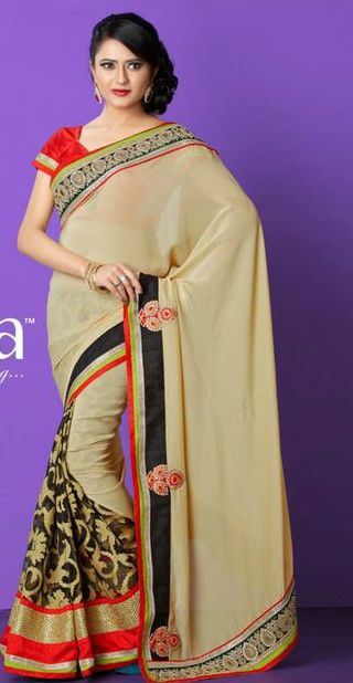Cream Brasso Stylish Embroidery Saree/Partywear/Designerwear #TS3052