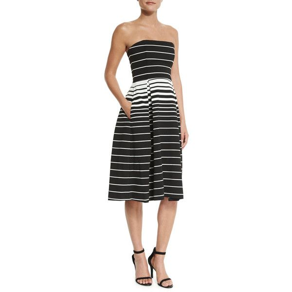 N Nicholas Corsica Multi-Stripe Ball Dress (630 CAD) ❤ liked on Polyvore featuring dresses, zipper dress, full skirt, strapless dress, open back dress and stripe dress