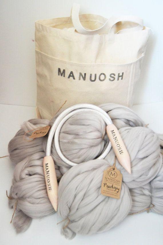 DIY HUGE Pudgy Throw Blanket Knit Kit 30'' x 50'' (76cm x 127 cm) Merino Blanket, Chunky blanket, Giant Super Chunky Knit Blanket