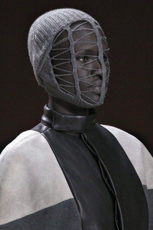 Rick Owens | Knit mask | Knitwear | lookbook | editorial | high fashion | tricot | runway | catwalk