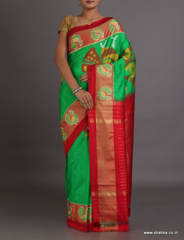 Shalini Enchanting Color Combinationed Double Ikat #PochampallySilkSaree