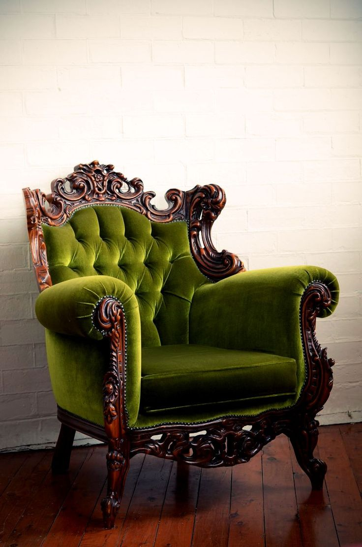 Green Velvet Armchair- I sooo want this for my studio ! It looks so comfortable!