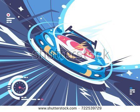 Power racing car on speed track. Car competitions, vector illustration