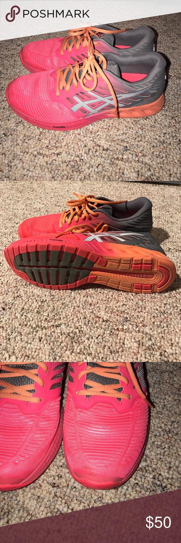 Selling this Asics coral and grey tennis shoes on Poshmark! My username is: jayhawko. #shopmycloset #poshmark #fashion #shopping #style #forsale #Asics #Shoes