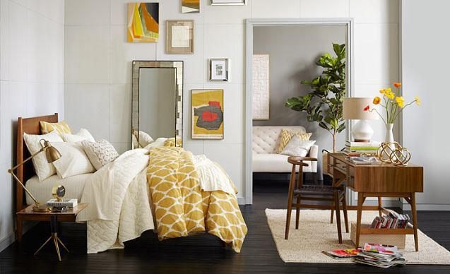 """Mid-Century bedroom mix. ORGANIC IKAT OGEE DUVET COVER + SHAMS comes in: yellow, red, blue, grey, brown. """"ginger"""" is the red one. $99 for full/queen duvet."""