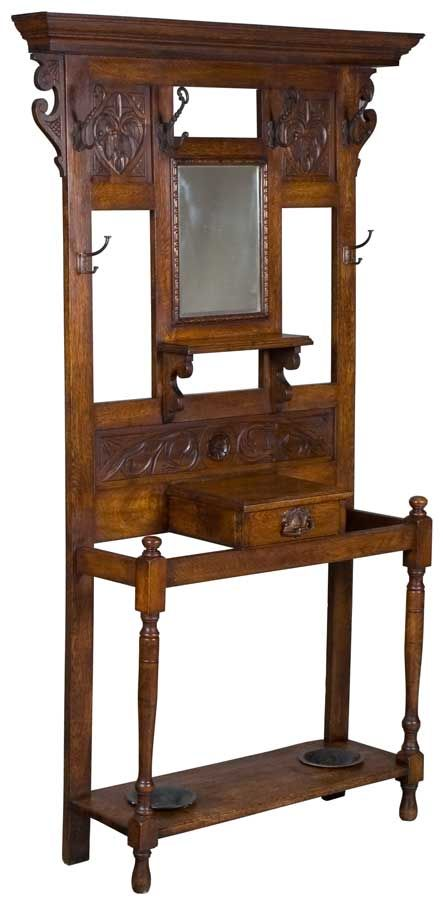 Antique Hall Tree, English with carvings. Makes a great coat rack.