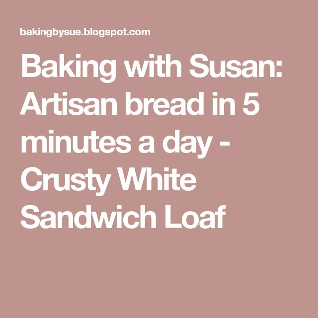 Baking with Susan: Artisan bread in 5 minutes a day - Crusty White Sandwich Loaf