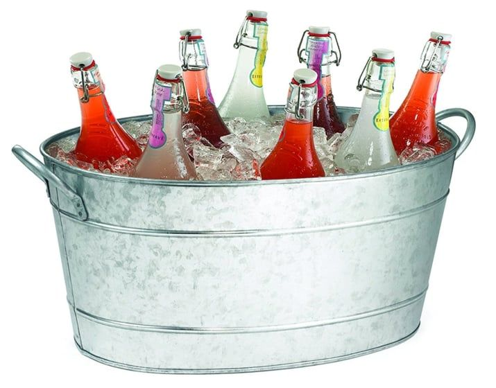 Set up a self-serve chilled wine station in a large galvanized tub.