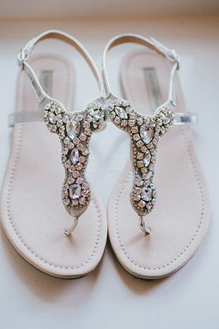 embellished bridal sandals for when your heels hurt your feet