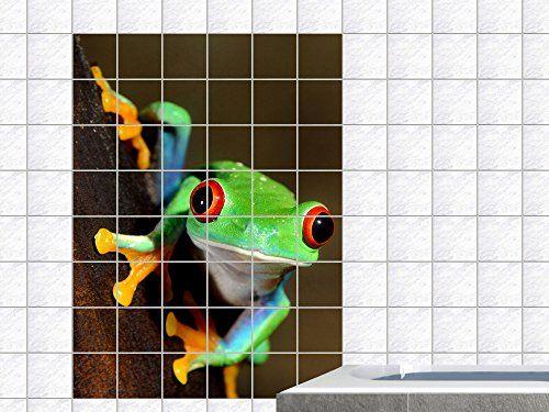 Fliesenaufkleber Fliesenbild Tiere Frosch Teich Wasser Badezimmer WC Bad (Fliesenmaß:10x20cm(BxH)//Bildformat:120x180cm(BxH))