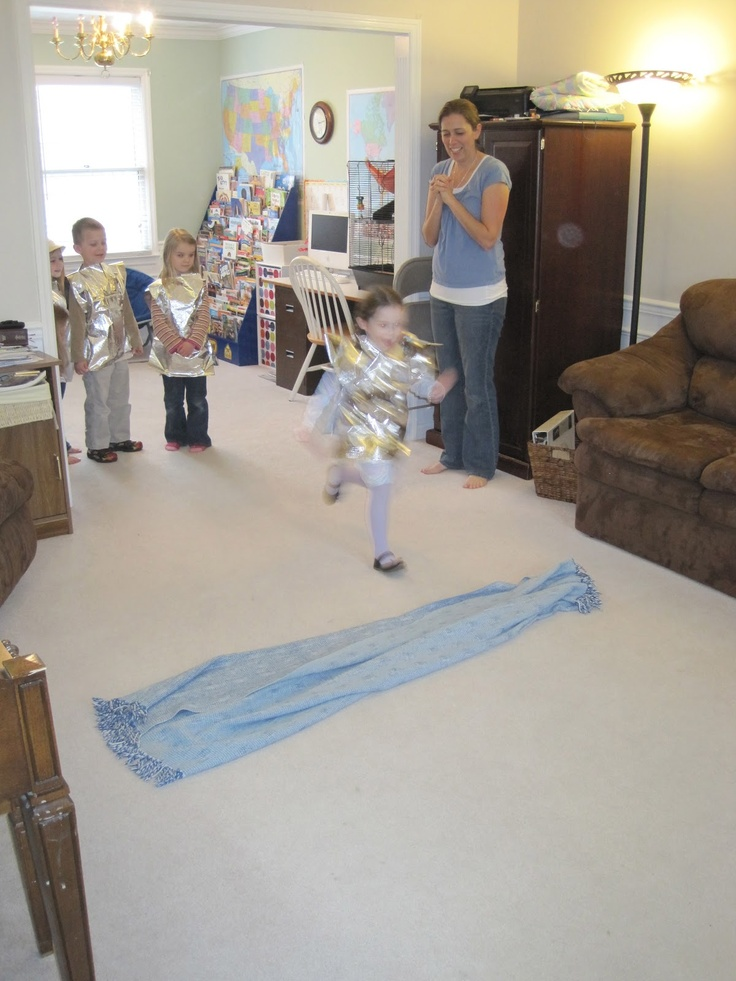 """Knight games for the boys to play downstairs. Especially love the """"moat"""" getting wider and jumping across!"""
