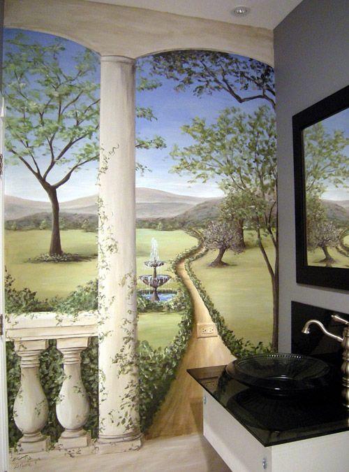 What A Beautiful Job Bathroom Muralmural Paintingmural Ideasentry Wayspowder Roomwall