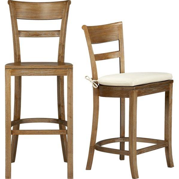 Kipling Grey Wash Barstools and Ivory Cushion in Barstools | Crate and Barrel