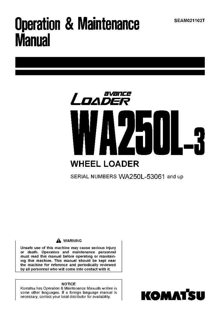 Komatsu WA250L-3 Wheel loader Operation and Maintenance