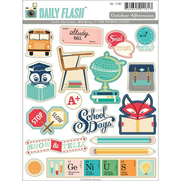 OCTOBER AFTERNOON-Daily Flash Milk Money Double Take Stickers 'Shape & Labels'. Perfect for all paper crafts!