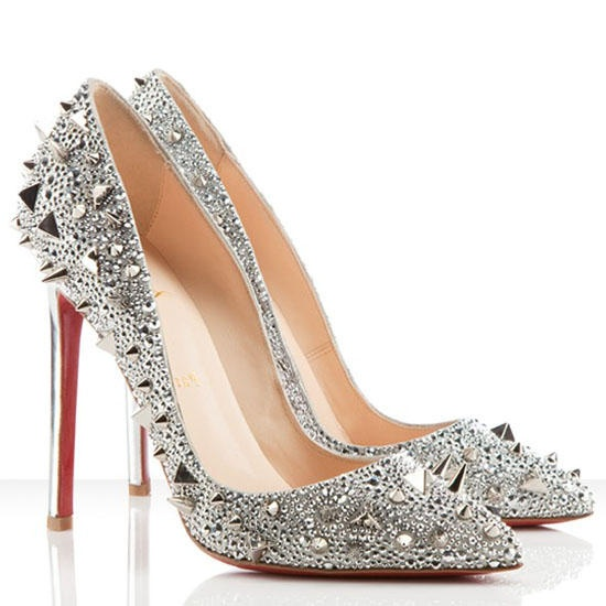 christian louboutin high heels shoes silver spike