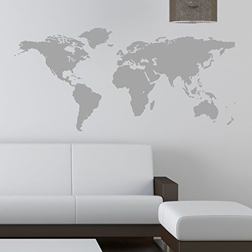 World map wall sticker kids wall sticker decals 120 grey for Dry erase world map wall mural